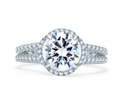 A. Jaffe Quilted Spilt Shank Single Row Round Halo Engagement Ring image 2