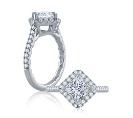 A. Jaffe Diamond Set Pave Princess Cut Engagement Ring image 1