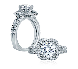 A. Jaffe Hibiscus Inspired Pave Split Shank Engagement Ring image 2