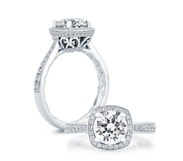A. Jaffe Ornate Basket Halo Engagement Ring image 2