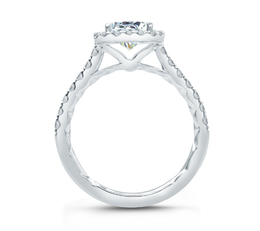 A. Jaffe Emerald Cut Halo Engagement Ring image 3