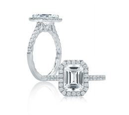 A. Jaffe Emerald Cut Halo Engagement Ring image 2