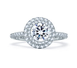 A. Jaffe Delicate Round Double Halo Quilted Engagement Ring image 2