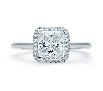 A. Jaffe Quilted Pave Princess Cut Halo Engagement Ring image 2