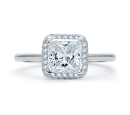 A. Jaffe Quilted Pave Princess Cut Halo Engagement Ring image 1
