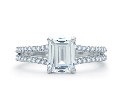 A. Jaffe Delicate Emerald Cut Quilted Engagement Ring image 2