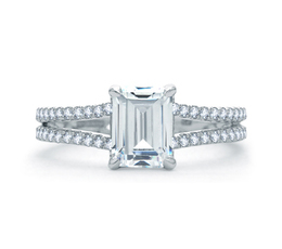 A. Jaffe Delicate Emerald Cut Quilted Engagement Ring image 1