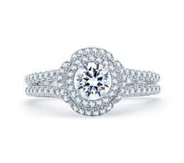 A. Jaffe Quilted Spilt Shank Round Double Halo Engagement Ring image 2