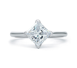 A. Jaffe Simple Princess Cut Quilted Engagement Ring image 2