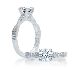 A. Jaffe Crossover Diamond Shank Engagement Ring image 2