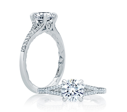 A. Jaffe Quilted Micro Pave Round Engagement Ring image 2