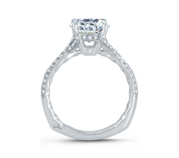A. Jaffe Twisted Split Shank Micro Pave Round Diamond Center Quilted Engagement Ring image 3