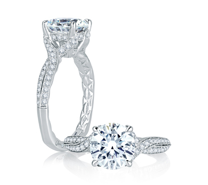 A. Jaffe Twisted Split Shank Micro Pave Round Diamond Center Quilted Engagement Ring image 2