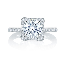 A. Jaffe Square Halo with French Round Diamond Center Quilted Engagement Ring image 3
