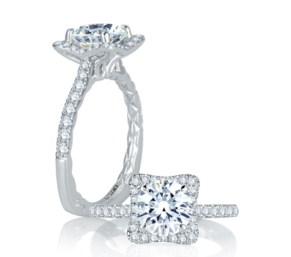 A. Jaffe Square Halo with French Round Diamond Center Quilted Engagement Ring image 2