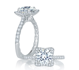A. Jaffe Square Halo with French Round Diamond Center Quilted Engagement Ring image 1