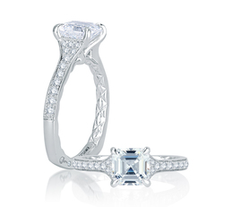 A. Jaffe Modern Meets Vintage Micro Pave Asscher Cut Diamond Center Quilted Engagement Ring image 2