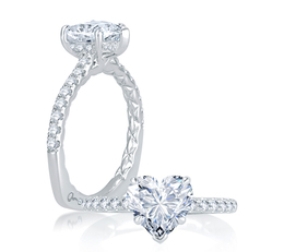 A. Jaffe An Ode To True Love. Charming French Pave Setting Quilted Engagement Ring image 2