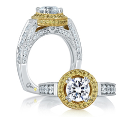 A. Jaffe Two Tone Diamond Encrusted Milgrain Engagement Ring image 2