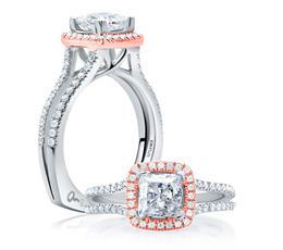 A. Jaffe Center of My Universe Princess Cut Rose Gold Diamond Halo Engagement Ring image 2
