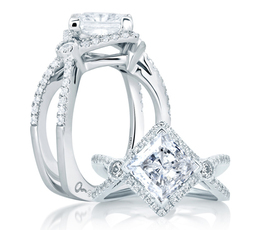 A. Jaffe Deco Double Shank Bubble Prong Engagement Ring image 2