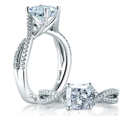 A. Jaffe Criss Crossover Cushion Cut Engagement Ring image 2