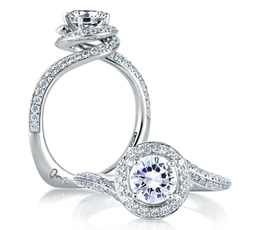 A. Jaffe Signature Spiral Halo Engagement Ring image 2
