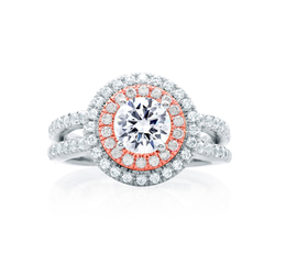 A. Jaffe Double Halo Rose Gold Diamond Split Shank Engagement Ring image 2