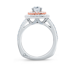 A. Jaffe Double Halo Rose Gold Diamond Split Shank Engagement Ring image 3