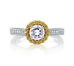 A. Jaffe Two Tone Round Milgrain Halo Engagement Ring image 2