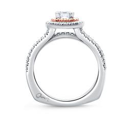 A. Jaffe Double Halo Rose Gold Diamond Cushion Frame Three Row Engagement Ring image 2