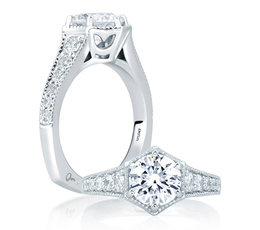 A. Jaffe Deco Pentilinear Pave Engagement Ring image 2