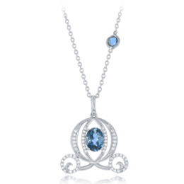 Cinderella's Carriage Pendant with Diamonds and Oval Blue Topaz in 14K White Gold image 2