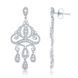 Cinderella Carriage Chandelier Earrings with 1/2ctw diamonds in 14Kt White Gold image 2