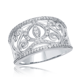 Cinderella Carriage Band 1/3cttw in 14k White Gold image 2