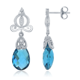 Cinderella Dangle Earrings with London Blue Topaz Briolettes and Diamonds in 14K White Gold image 2