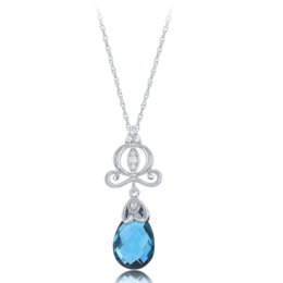 Cinderella Carriage London Blue Topaz Briolette Pendant with Diamonds in 14K White Gold image 2