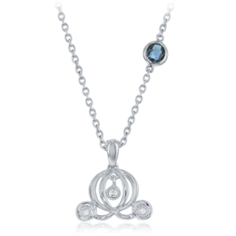 Cinderella's Carriage Pendant .05cttw with London Blue Topaz accent in Sterling Silver image 2