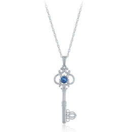 Cinderella London Blue Topaz Key Pendant in Sterling Silver image 2
