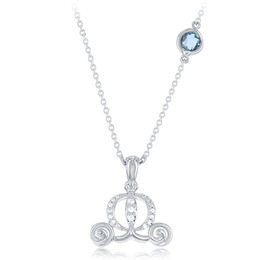 Cinderella's Carriage Diamond Pendant with London Blue Topaz accent in Sterling Silver image 2