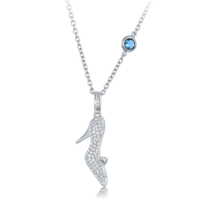 Cinderella's Slipper Diamond Pendant with London Blue Topaz accent 1/5cttw in Sterling Silver image 2