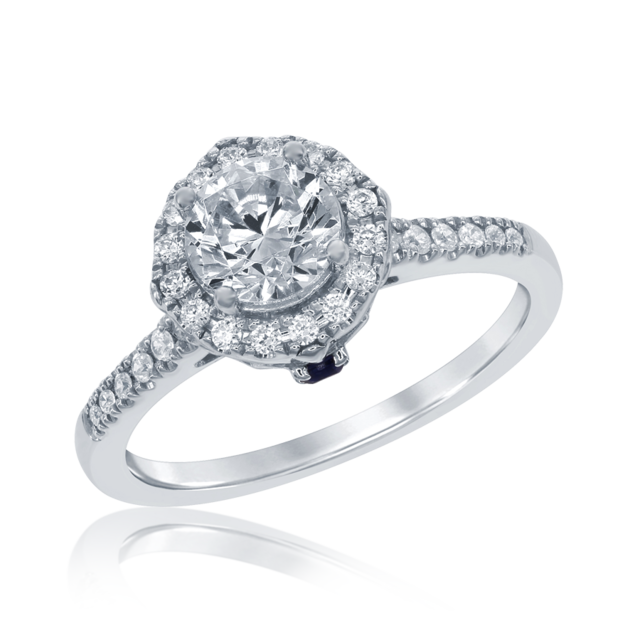 Cinderella Carriage Halo Engagement Ring in 14k white gold image 2