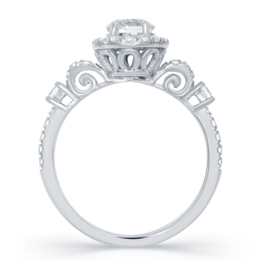 Cinderella Carriage Engagement Ring in 14k white gold 1.00 cttw (5/8ct round diamond center) image 2