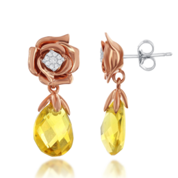 Belle Rose Diamond Dangle Citrine Briolette Earrings in 14k Rose Gold  image 2