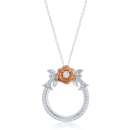 Belle Rose Circle Diamond Pendant in 14k White and Rose Gold image 2