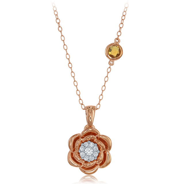 Belle Rose Cluster Diamond Pendant in 14k Rose Gold image 2