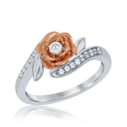 Belle Rose Bypass Diamond Ring in 14k White and Rose Gold image 2