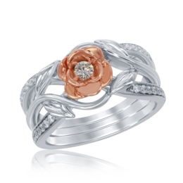 Belle Rose Wide Band Diamond Ring in 14k White and Rose Gold image 2