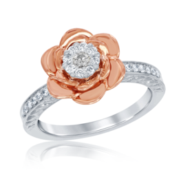 Belle Rose Diamond Ring in 14k White and Rose Gold image 2