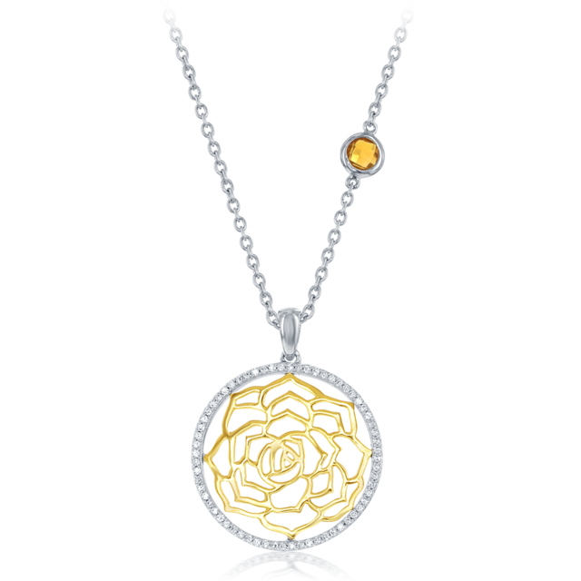 Belle Round Rose Diamond Pendant in 14k white and yellow gold  image 2